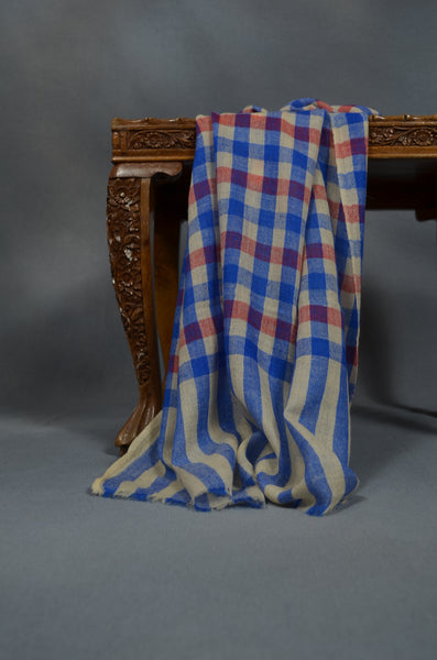 Blue & Red Handwoven Cashmere Pashmina Scarf
