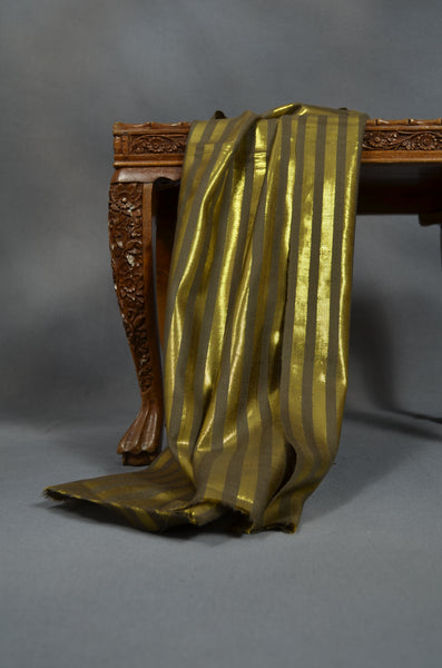 Golden Metallic Striped Handwoven Cashmere Pashmina Scarf