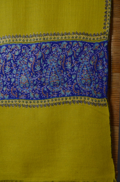 Yellow and Blue Big Border Embroidery Cashmere Pashmina Scarf