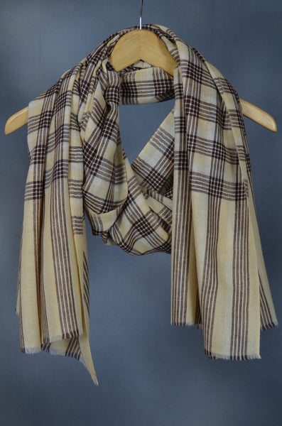 Beige Checkered  Handwoven Cashmere Pashmina Shawl