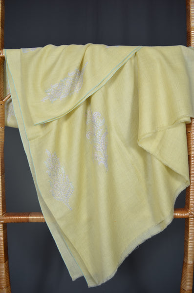 Yellow Butti-Dar Motif Embroidery Pashmina Cashmere Shawl