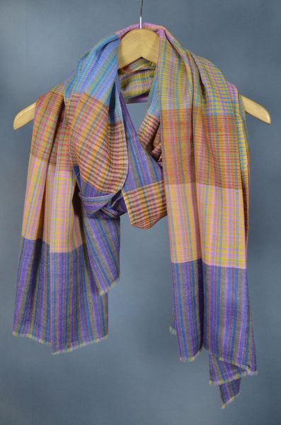 Multi Color Khadi Pattern Handwoven Cashmere Pashmina Shawl