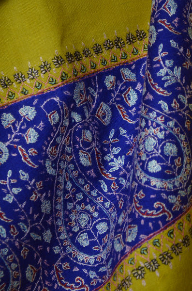 Yellow and Blue Big Border Embroidery Cashmere Pashmina Shawl