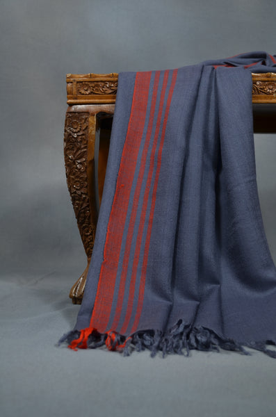 Grey & Red Striped Handwoven Cashmere Pashmina Shawl