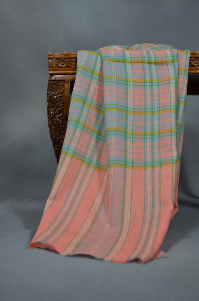 Pink and Green Handwoven Cashmere Pashmina Shawl
