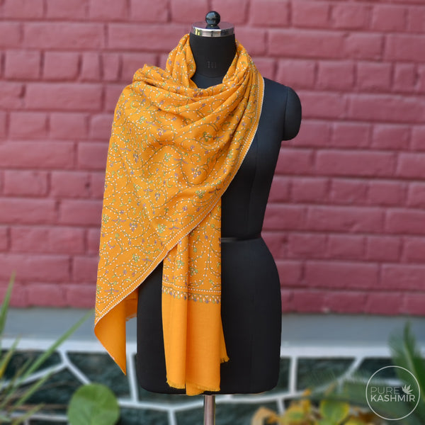 Yellow Kashmir Sozni Embroidery Wool Scarf