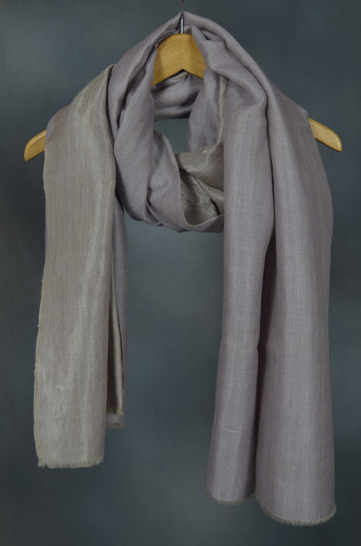 Reversible Lavender and Metallic Silver Handwoven Cashmere Pashmina Shawl