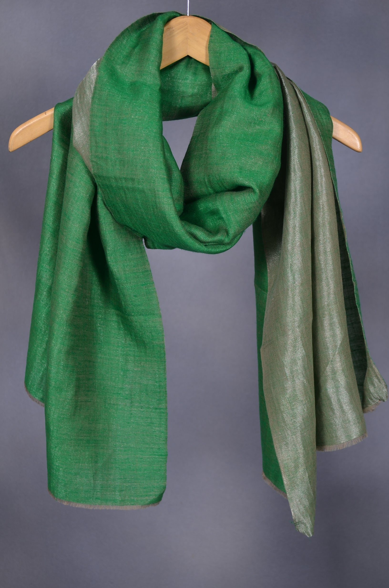 Reversible Metallic Green and Silver Handwoven Cashmere Pashmina Scarf