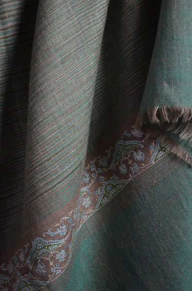 Green Khadi Border Embroidery Cashmere Pashmina Shawl