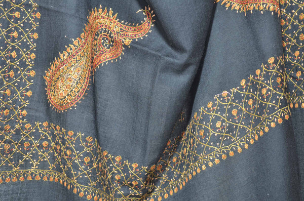 Black Merino Sozni Hand Embroidery Shawl