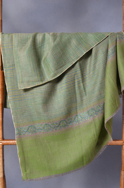 Lime Khadi Border Embroidery Cashmere Pashmina Shawl