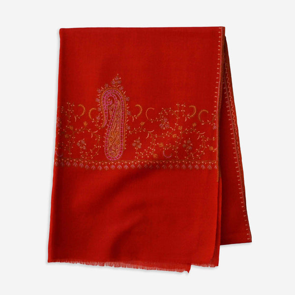 Big border embroidery Kashmir cashmere merino embroidery scarf