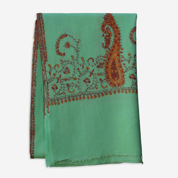 Beautiful embroidery on this ocean green cashmere woolen scarf