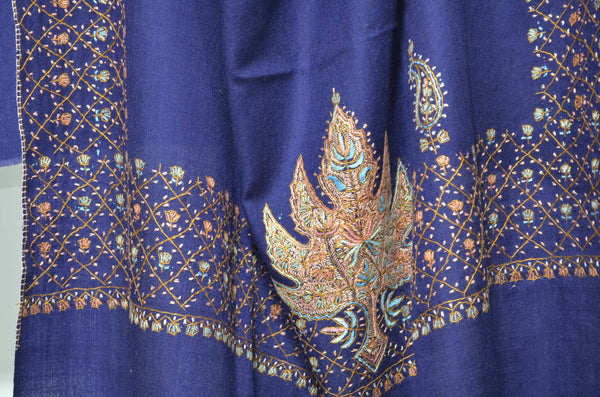 Navy Blue Merino Sozni Hand Embroidery Shawl