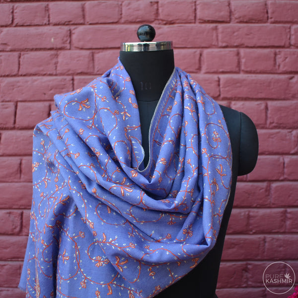 Purple Kashmir Sozni Embroidery Wool Scarf