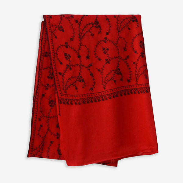 beautiful needle embroidery all over the red cashmere woolen base scarf