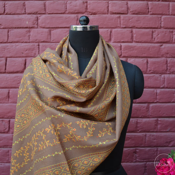 Tan Brown Kashmir Sozni Embroidery Wool Scarf