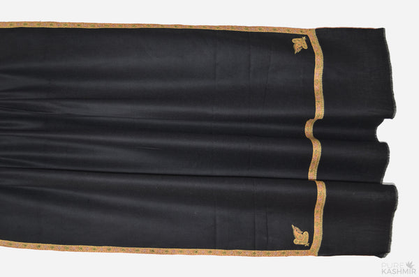Black Cashmere Pashmina Shawl with Beautifully  Crafted Border