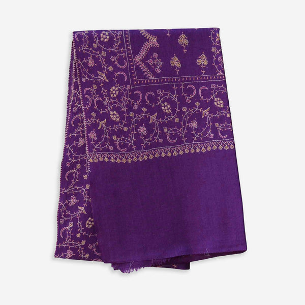 purple kashmir meino woolen scarf with jali embroidery