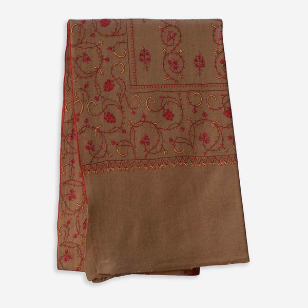Heavy embroidery on this natural taupe cashmere woolen stole