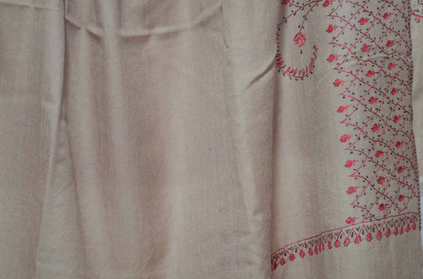 Un-Dyed Natural Merino Sozni Hand Embroidery Shawl