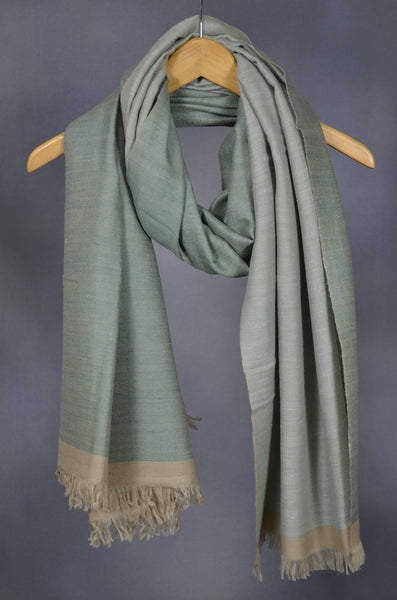 Reversible Green and Grey Handwoven Cashmere Pashmina Shawl