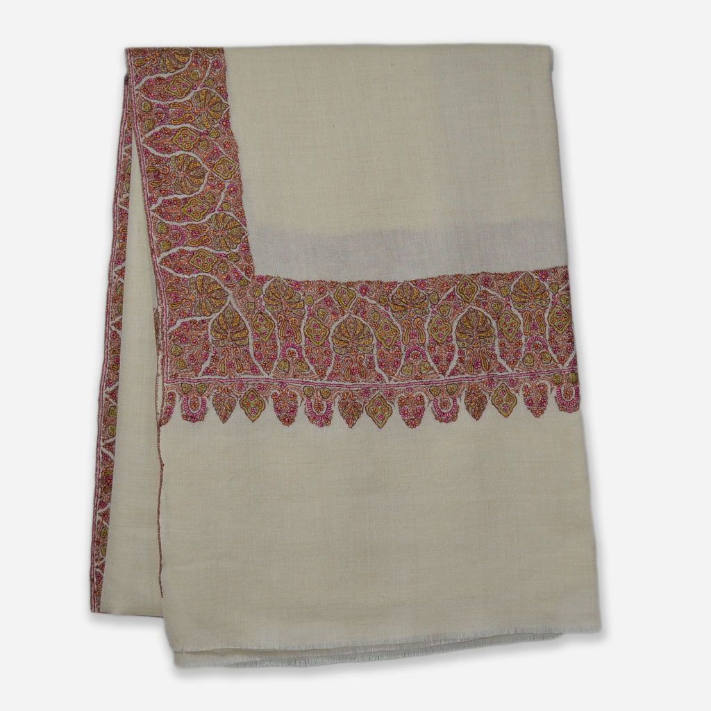 White Sozni Border Embroidery Cashmere Pashmina Shawl