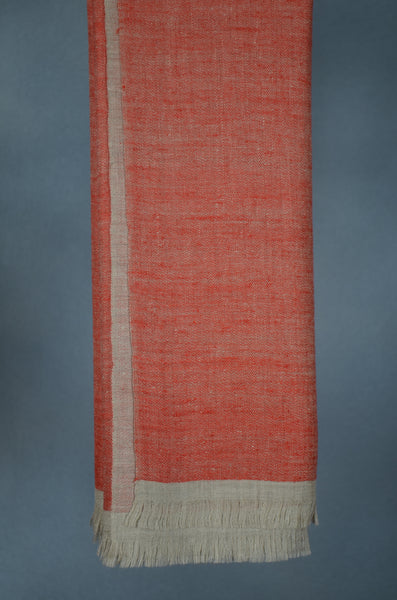 Reversible Orange and Grey Handwoven Cashmere Pashmina Shawl