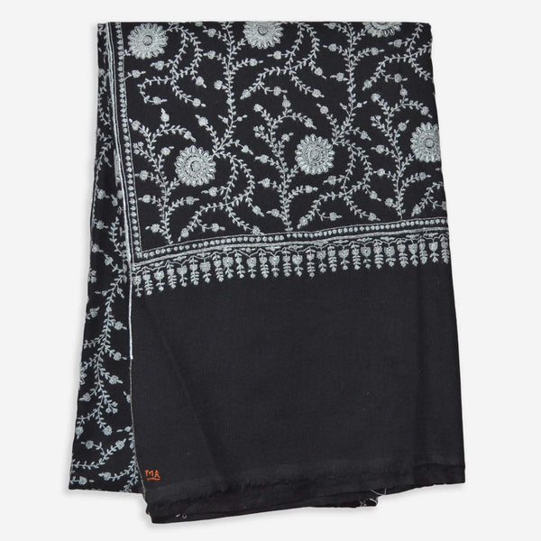 Splendid needle embroidery all over black cashmere pashmina shawl