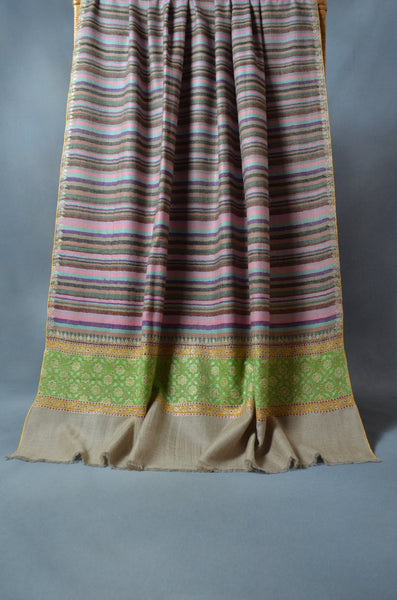 Green Ikat Big Border Embroidery Cashmere Pashmina Shawl