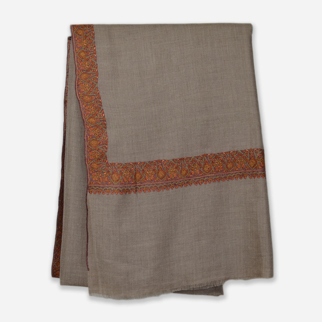 Taupe Border Embroidery Cashmere Travel Wrap
