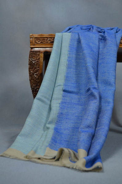 Reversible Turquoise and Blue Handwoven Cashmere Pashmina Scarf/Shawl