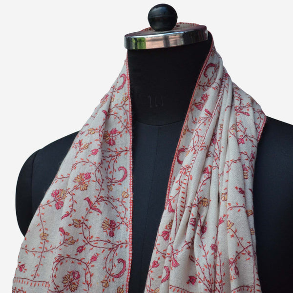 Buy Kashmiri woolen stole with amazing embroidery crafted all over the scarf