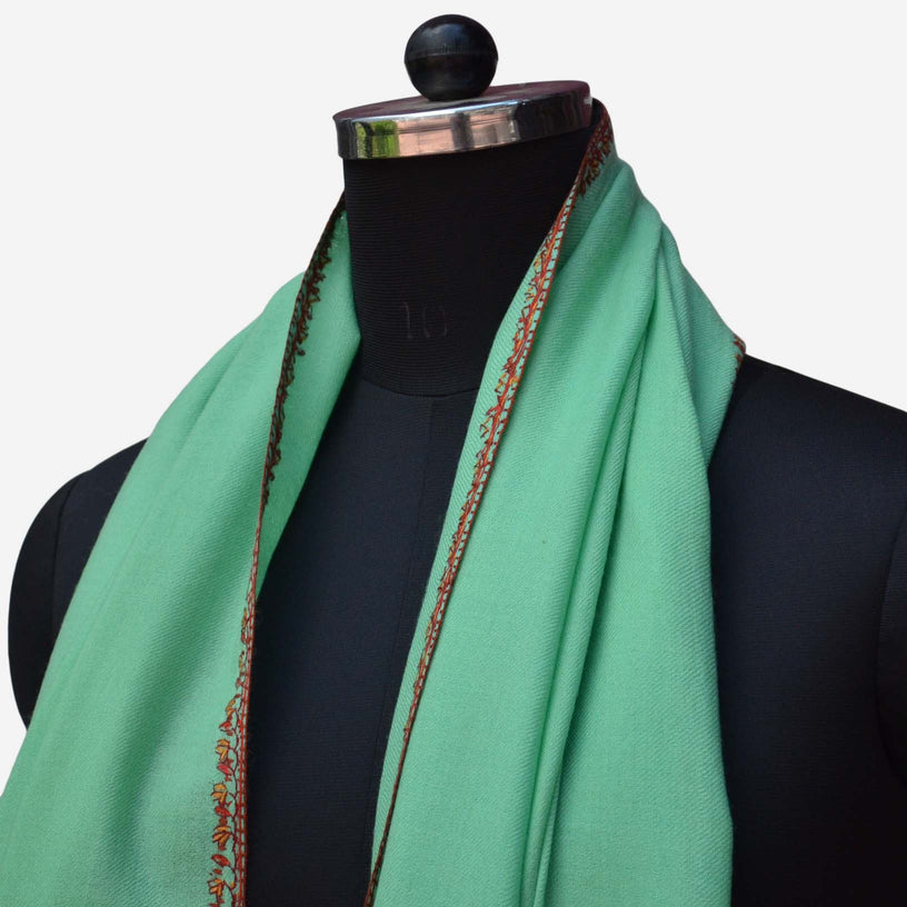 Big border embroidery on this ocean green cashmere Kashmir woolen stole