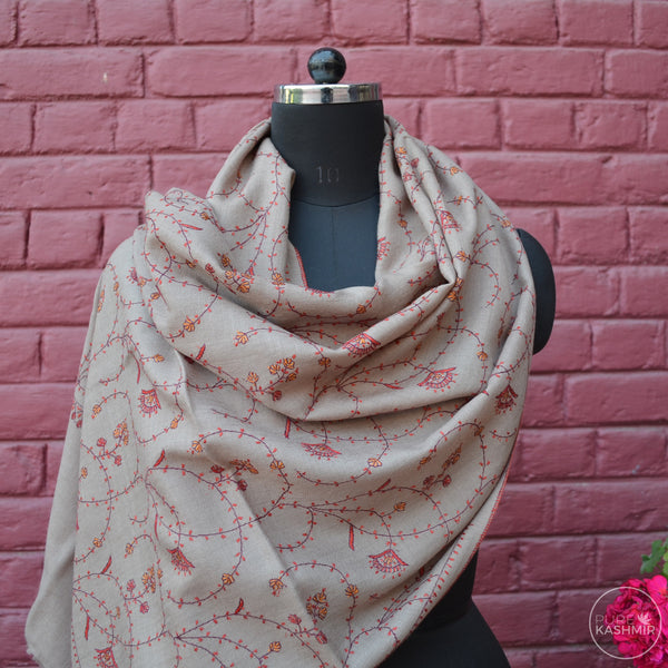 Un Dyed Natural Kashmir Sozni Embroidery Wool Scarf