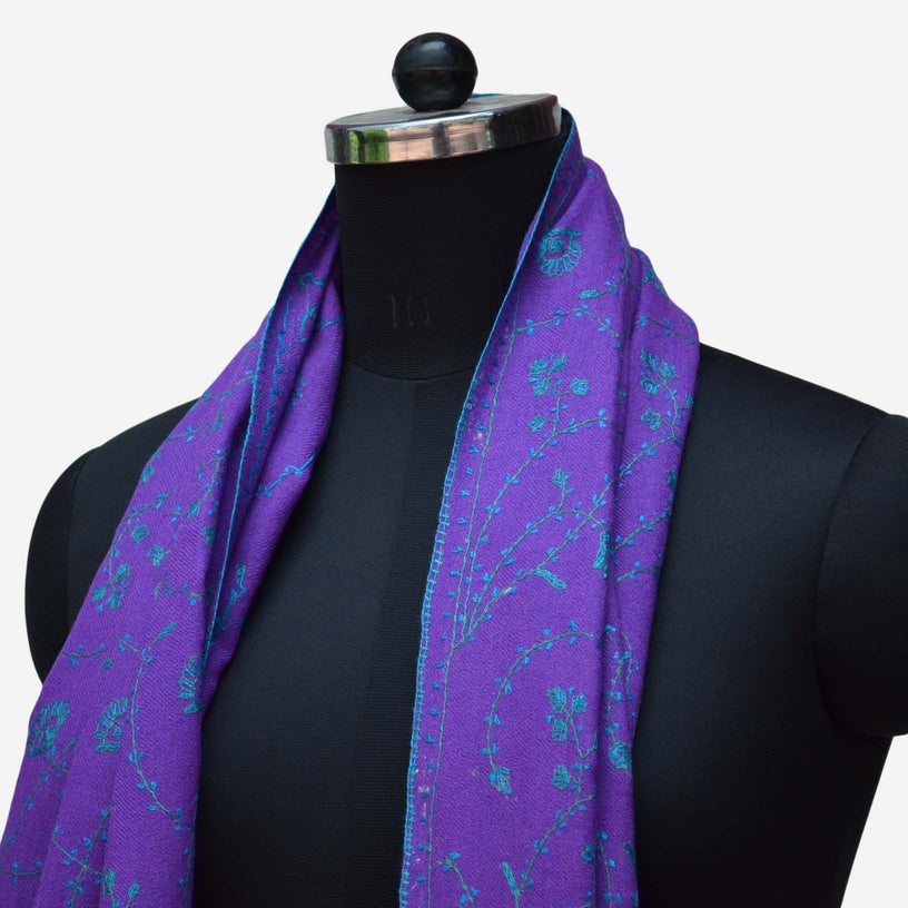 Buy Kashmiri woolen merino stole. This purple woolen stole is made from 100% pure wool