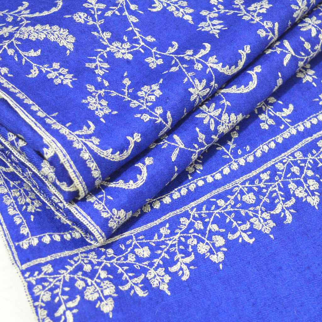 Blue Embroidery Shawl