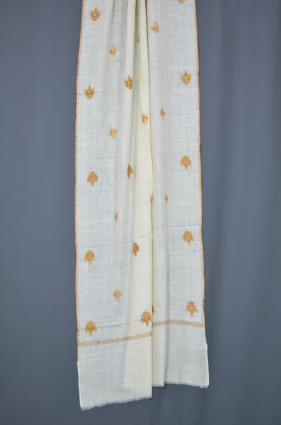 Ivory Butti-Dar Motif Embroidery Cashmere Pashmina Scarf