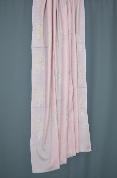 Baby Pink Butti-Dar Motif Embroidery Pashmina Cashmere Shawl