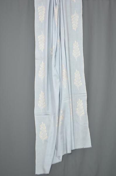 Baby Blue Butti-Dar Motif Embroidery Pashmina Cashmere Shawl