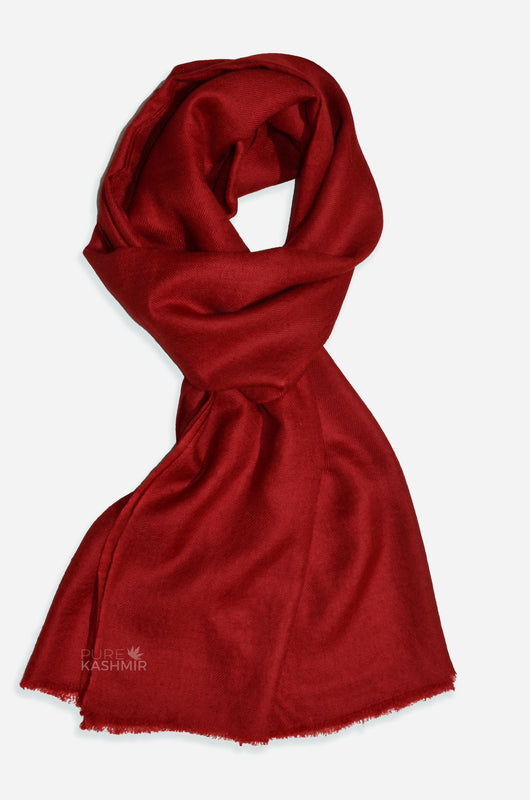 "Beautifully light and scrumptiously soft ""Wine"" Cashmere Scarf is hand woven from the highest grade of 100% pure Cashmere from Kashmir."