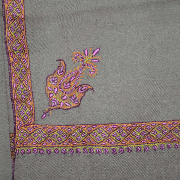 sozni embroidery on this 3 yard cashmere pashmina travel wrap