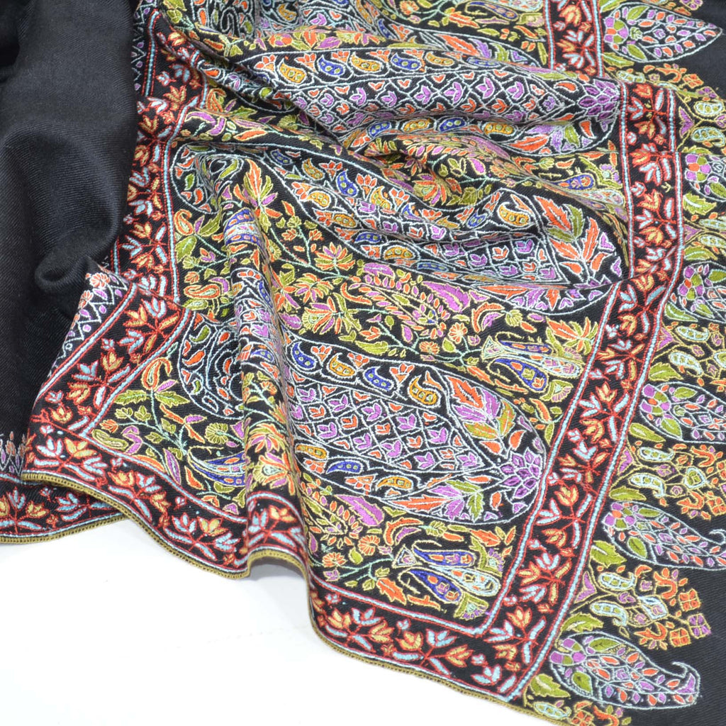 Black Big Border Embroidery Cashmere Pashmina Shawl
