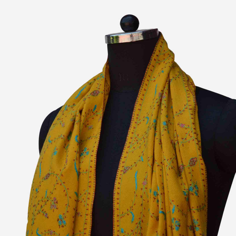 Cashmere woolen embroidered yellow merino stole