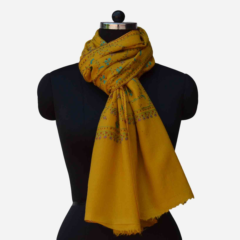 Pure merino wool cashmere yellow embroidery stole
