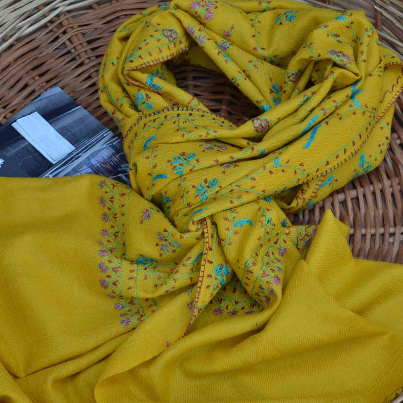 Yellow Kashmir cashmere merino wool embroidery scarf