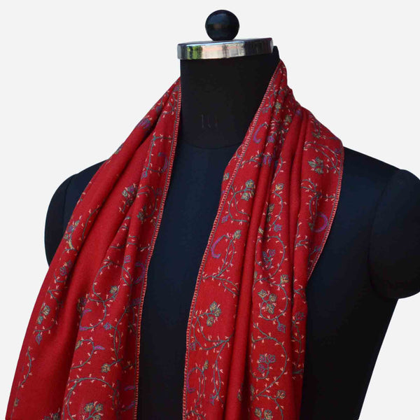 Red cashmere merino woolen kashmiri embroidered stole