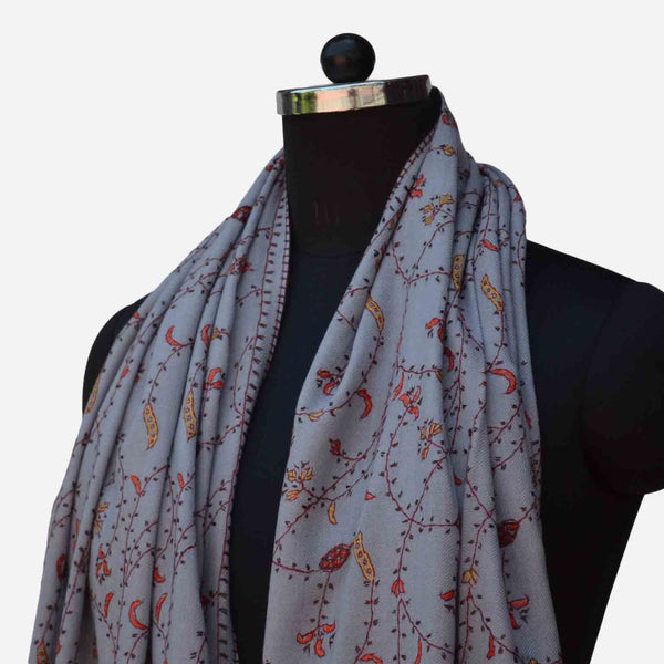 cashmere merino wool cloud grey embroidery stole