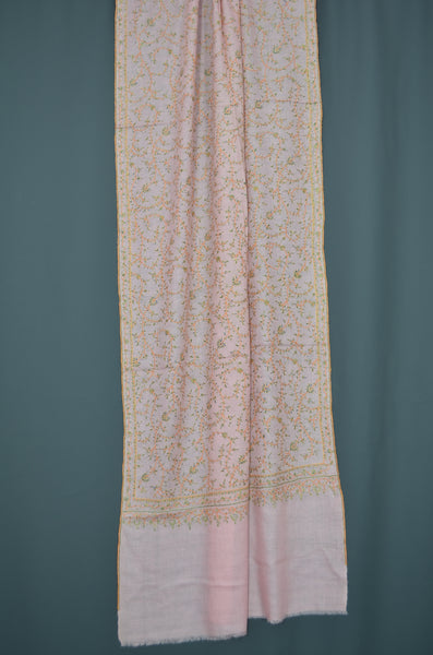 Pink Jali Embroidery Cashmere Pashmina Scarf