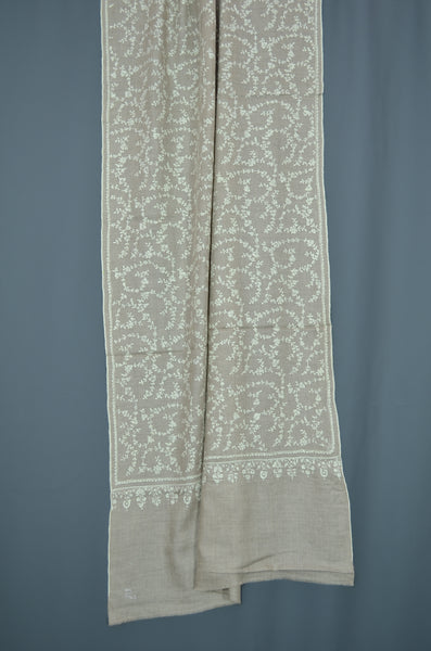 Un Dyed Natural Jali Embroidery Pashmina Scarf